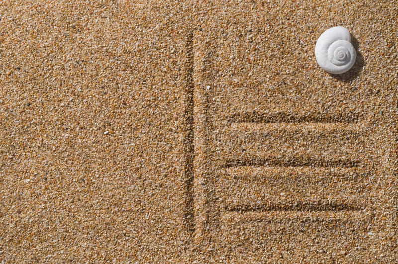 Beach postcard on sand. With seashell as a stamp stock images