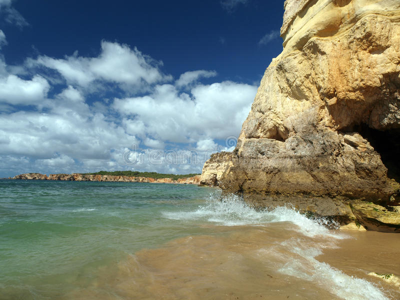 Beach of Praia da Rocha in Portimao stock image