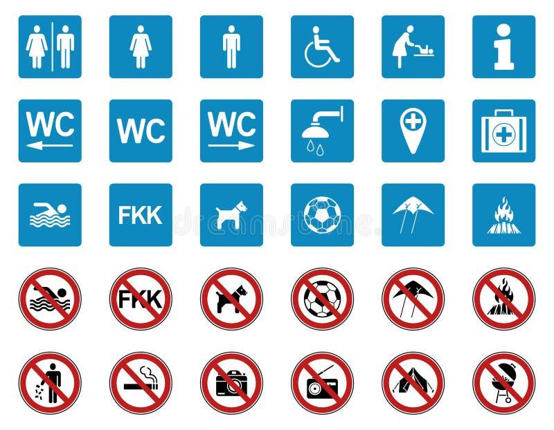 Beach - Prohibition & Warning Signs - Iconset royalty free illustration