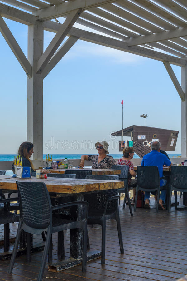 Beach promenade scene, Haifa royalty free stock image