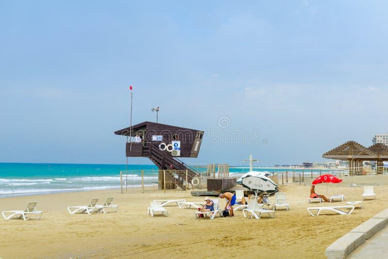 Beach promenade scene, Haifa royalty free stock photos