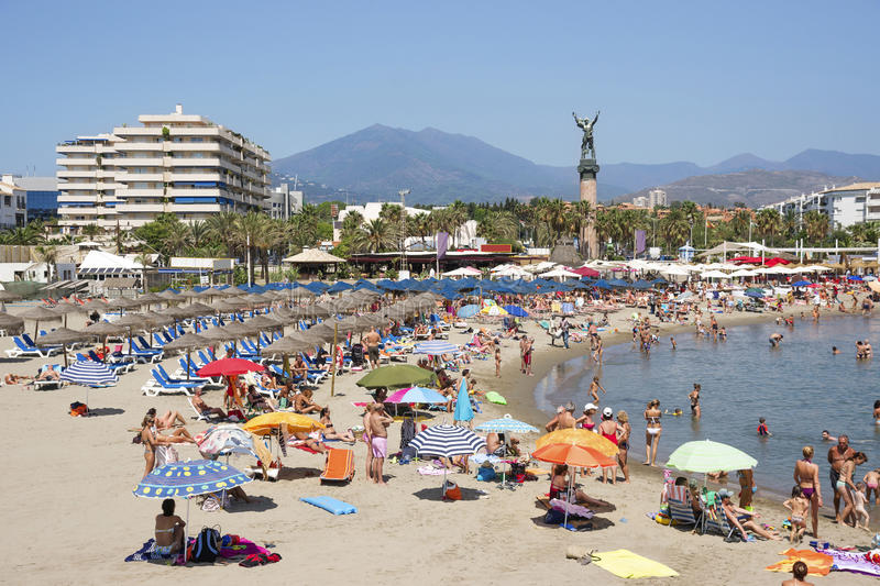 Beach in the Puerto Banus stock images