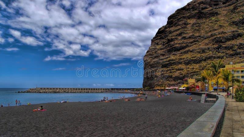 Beach in Puerto de Tazacorte, La Palma, Spain royalty free stock photos