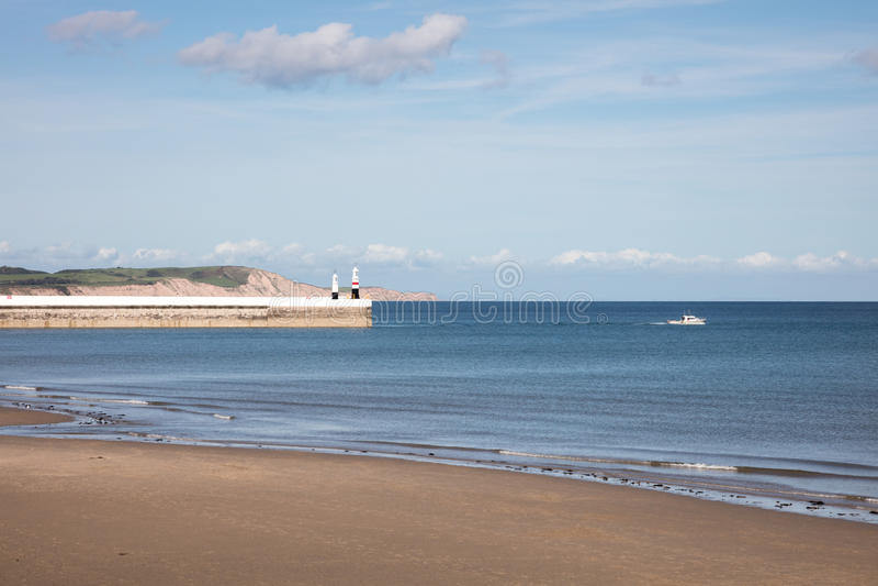 Beach Ramsey Isle of Man. Sandy beach and breakwater of Ramsey on the Isle of Man British Isles stock photos