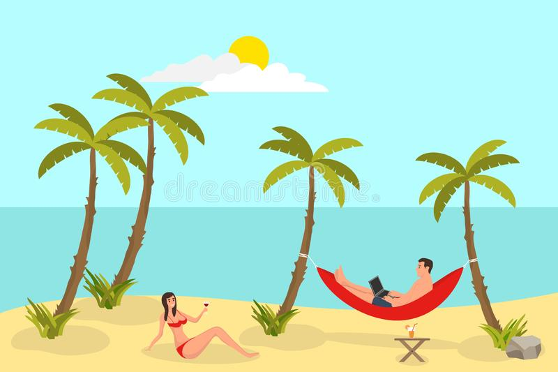 Beach reading background with sand palms. Freelance man, working and lying in hammock, sunshine and weather, set of freelance work vector illustration