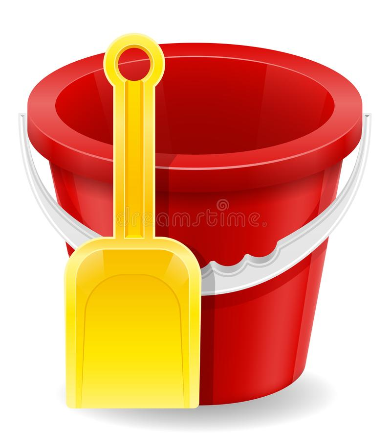 Free Beach Red Bucket And Yellow Shovel Childrens Toy For Sand Stock Stock Images - 105767544