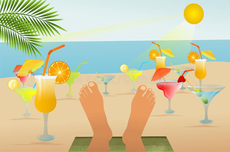 Beach relaxation and drinks. Vector illustration of relaxing feet and summer fantasy vector illustration