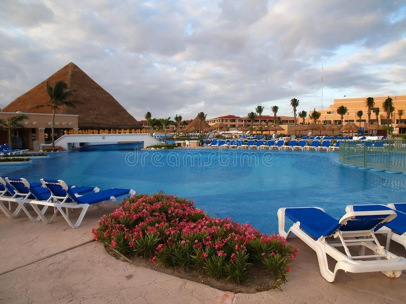 A beach resort in Cancun royalty free stock photography