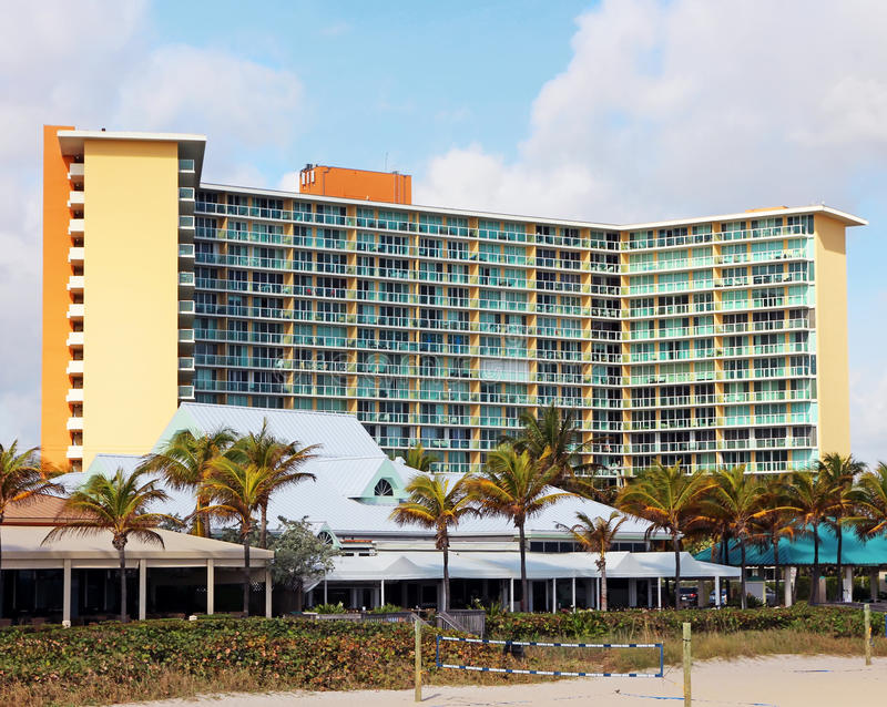 Beach Resort Hotel. Wyndham Beach Resort is located on Deerfield and offering elegant accommodations in an oceanfront location along the South Florida beach royalty free stock image