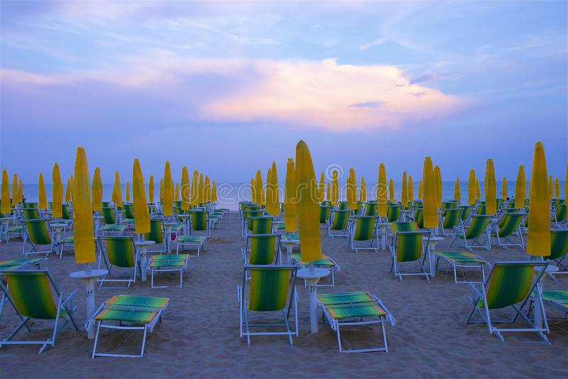 Beach and resort in Lido di Jesolo, Italy. View of Lido di Jesolo beach, Italy stock photo