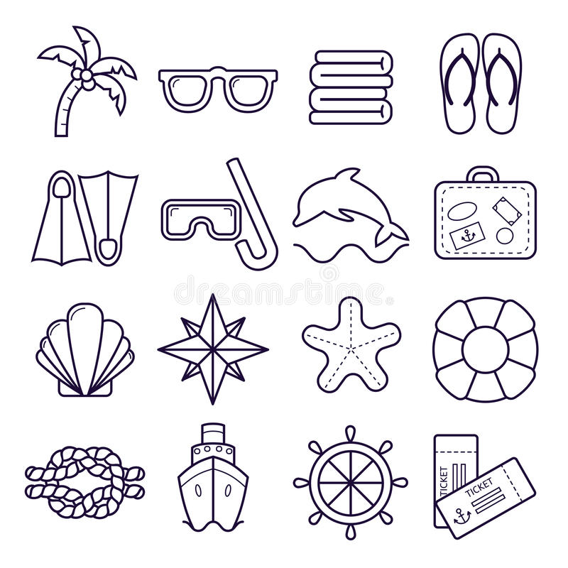 Beach, resort line icons. Palm, sunglasses, flip flops, diving mask, shell and other holiday elements. stock illustration