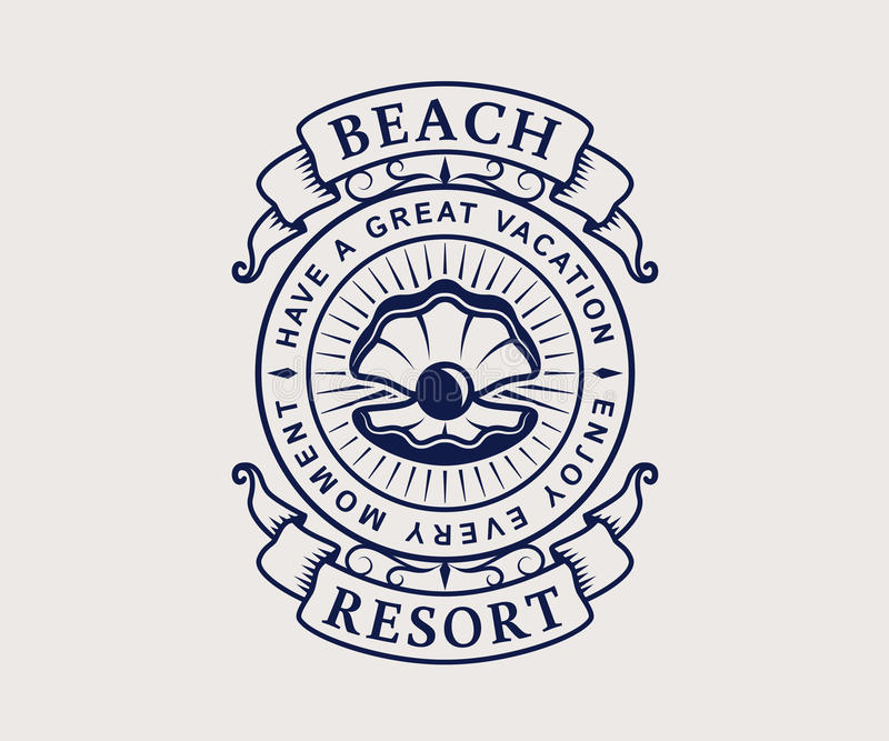 Beach resort logo with shell. Beach resort logo with seashell. Elegant vintage emblem isolated on white background. Vector template vector illustration
