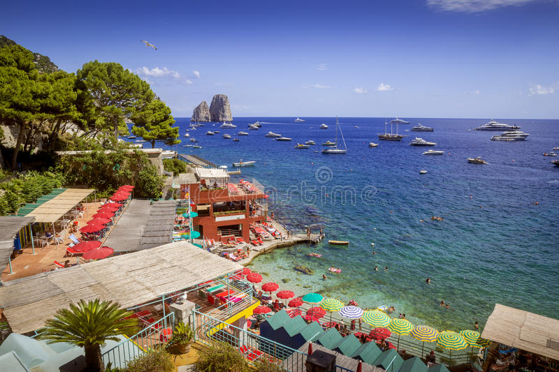 Beach resort at Marina Piccola on Capri island, Italy. Beach resort at Marina Piccola on Capri island in Italy royalty free stock images