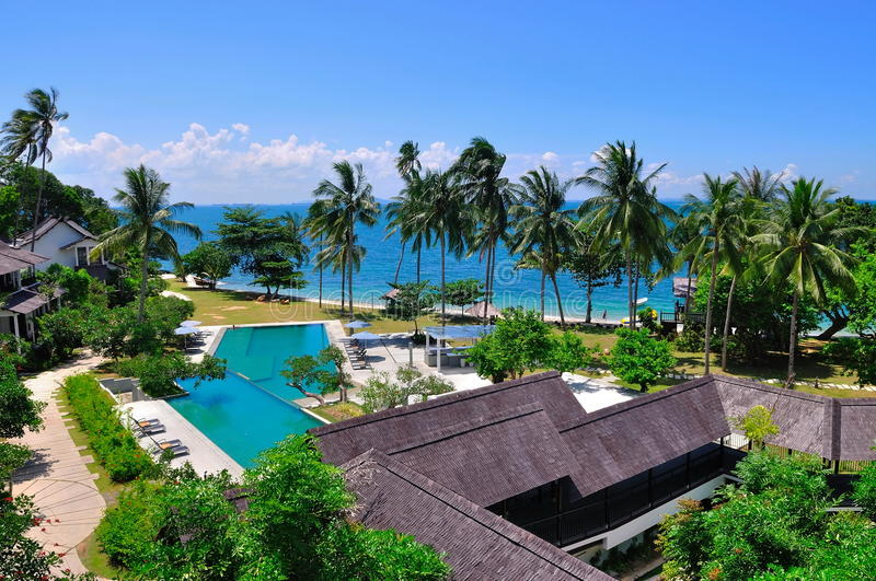 Beach resort with swimming pool royalty free stock images