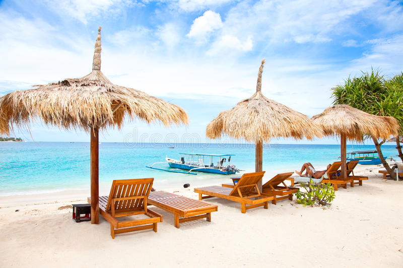 Beach rest pavillion in Gili islands, Meno royalty free stock photo
