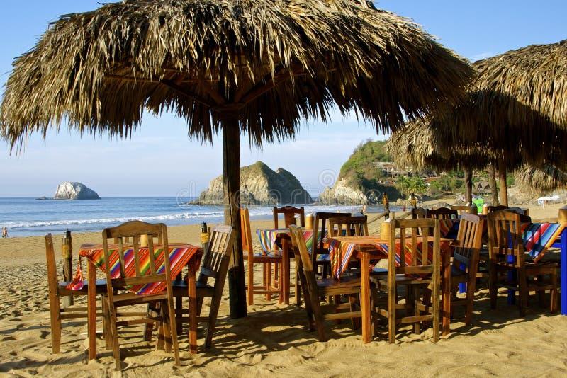 Beach restaurant, Mexico stock photo