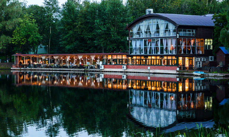 Restaurant on the bank of the lake stock images