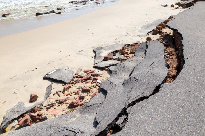 Beach Road slide along the beach to water erosion. Because storm royalty free stock photos