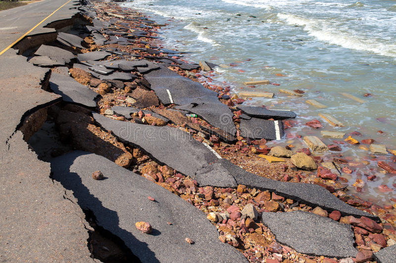 Beach Road slide along the beach to water erosion. Because storm royalty free stock photography