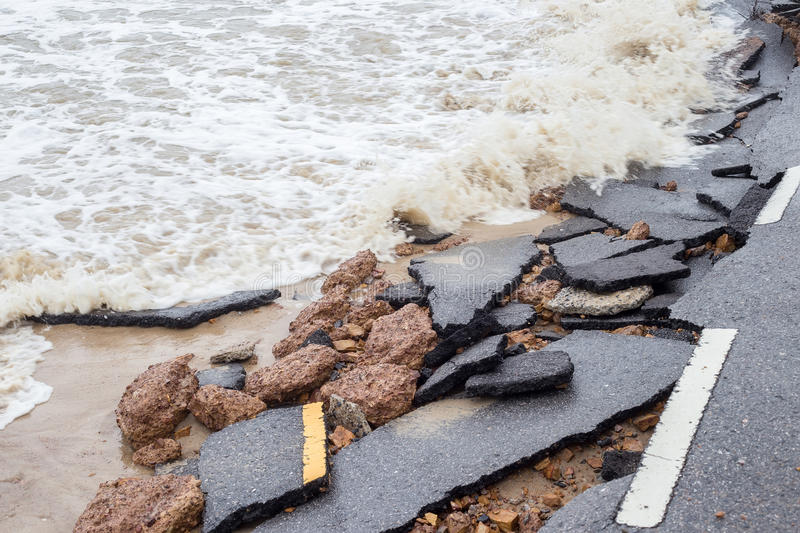 Beach Road slide along the beach to water erosion. Because storm stock photo