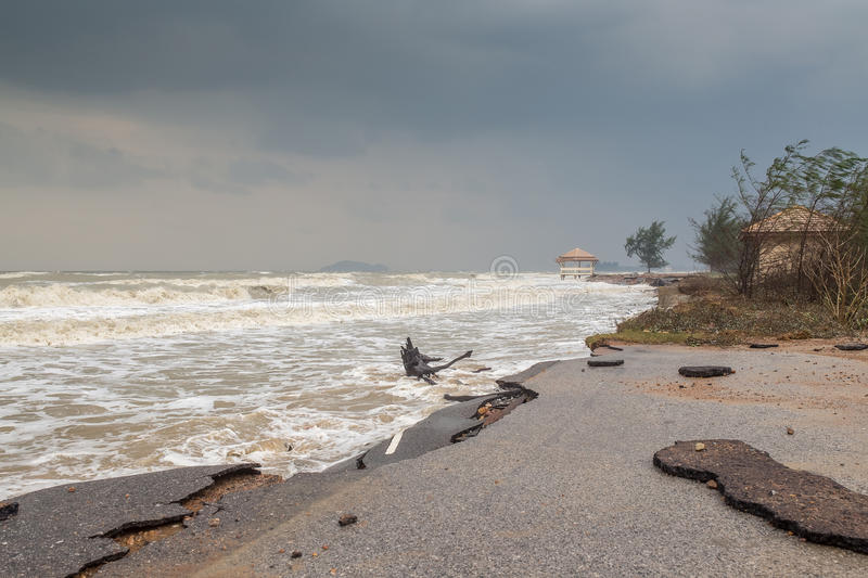Beach Road slide along the beach to water erosion. Because storm stock image