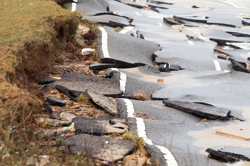 Beach Road slide along the beach to water erosion. Because storm stock images