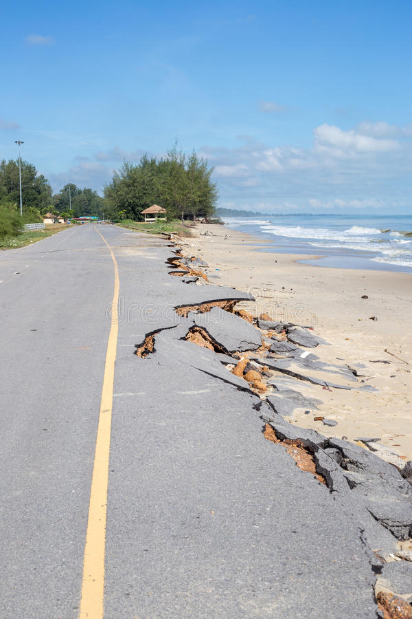 Beach Road slide along the beach to water erosion. Because storm royalty free stock image