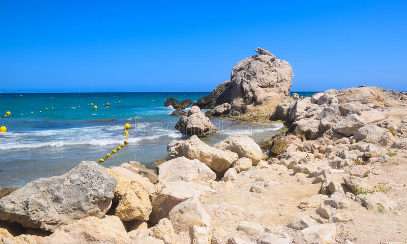 Beach and rocks royalty free stock photography