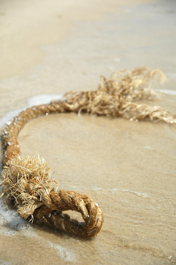 Beach and rope royalty free stock photo