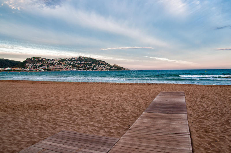 Beach in Roses, Catalonia, Spain. View of the Beach in Roses, Catalonia, Spain royalty free stock image
