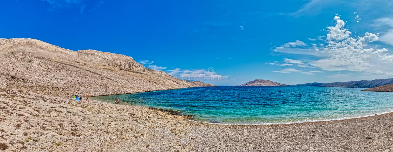 Beach Rucica on the island Pag, Croatia royalty free stock photography