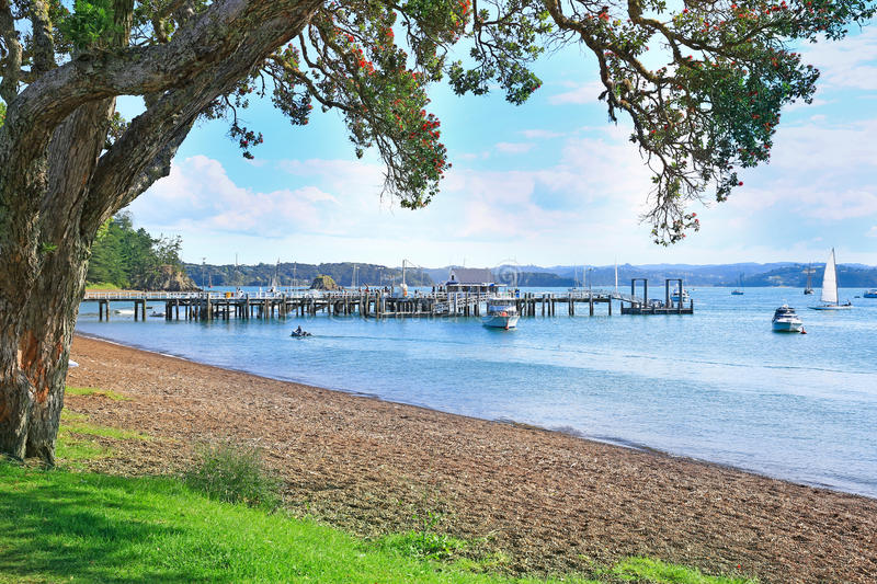 Beach of Russell, Bay of Islands, New Zealand. Landscape from Russell near Paihia, Bay of Islands, New Zealand stock photography