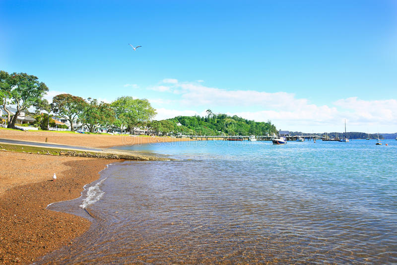 Beach of Russell, Bay of Islands, New Zealand. Landscape from Russell near Paihia, Bay of Islands, New Zealand stock photo