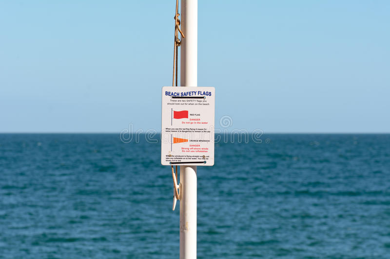 Beach Safety Flags sign. At Oddicombe beach, Torquay, Devon, England stock photos