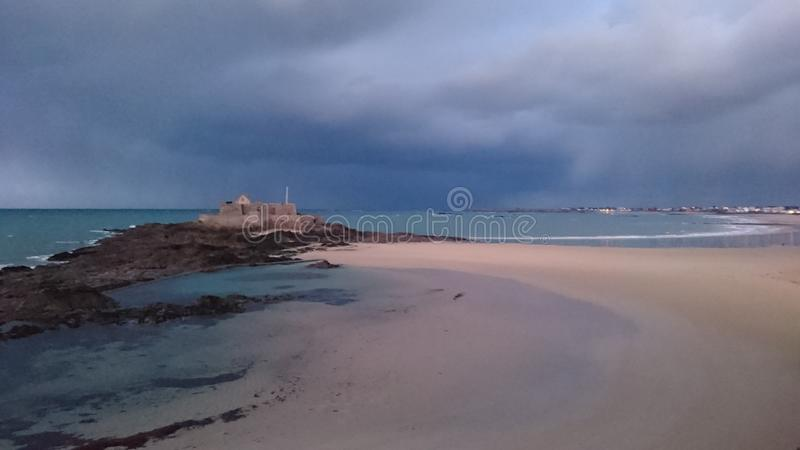 Beach of Saint Malo stock photos
