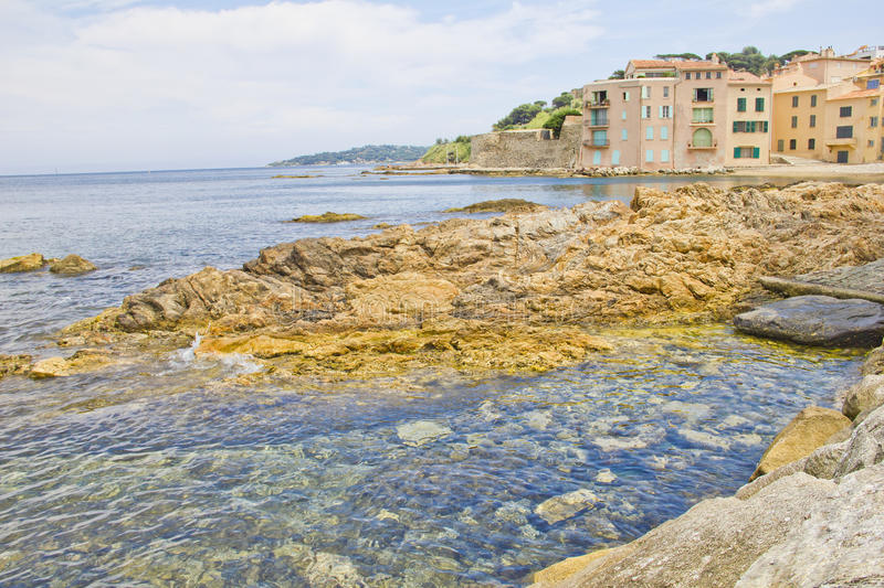 Beach in Saint-Tropez, south of France royalty free stock photo