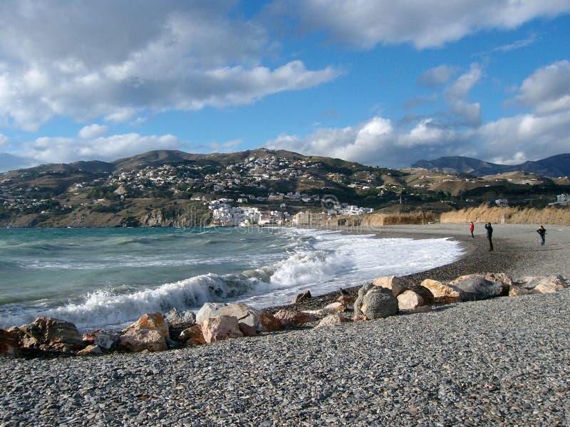 Beach at Salobrena, Andalusia, Spain royalty free stock photo