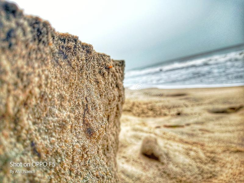 Beach Sand. Mobile photgraphy on a beach by alvi royalty free stock image