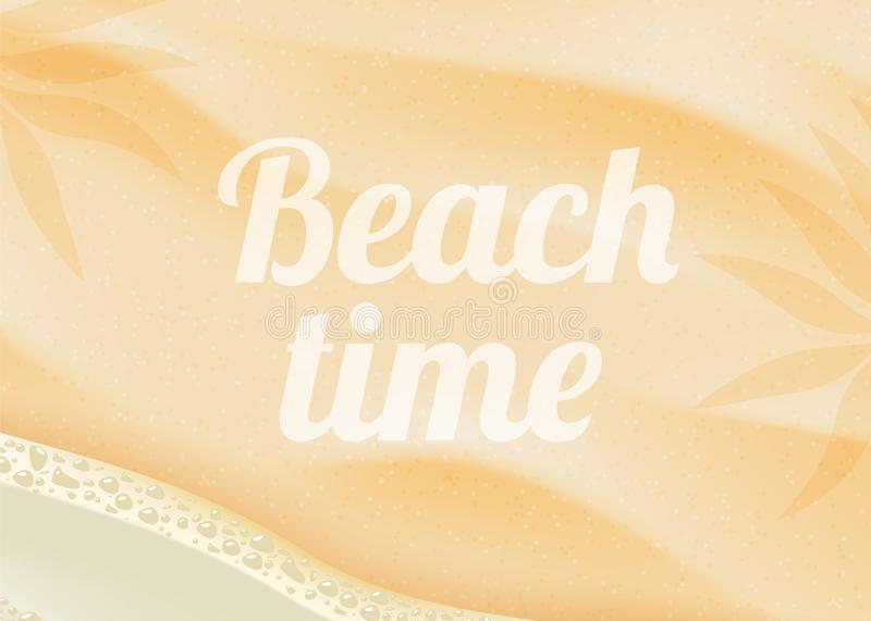 Beach sand on ocean coast sea azure wave with bubble. Tropical travel, summer vacation holiday paradise resort stock illustration
