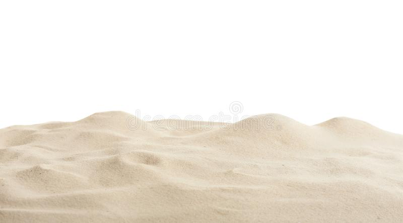 Beach sand on white background. Mockup for design royalty free stock photos