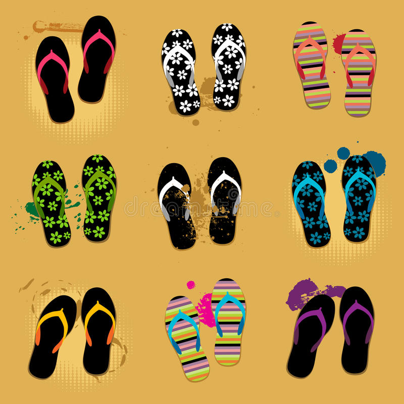 Free Beach Sandals On Sand Royalty Free Stock Images - 9612439