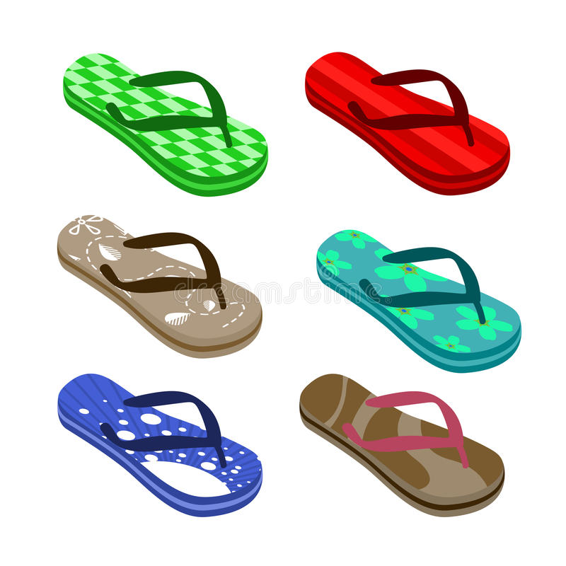 Download Beach sandals set stock vector. Image of product, element - 11346099
