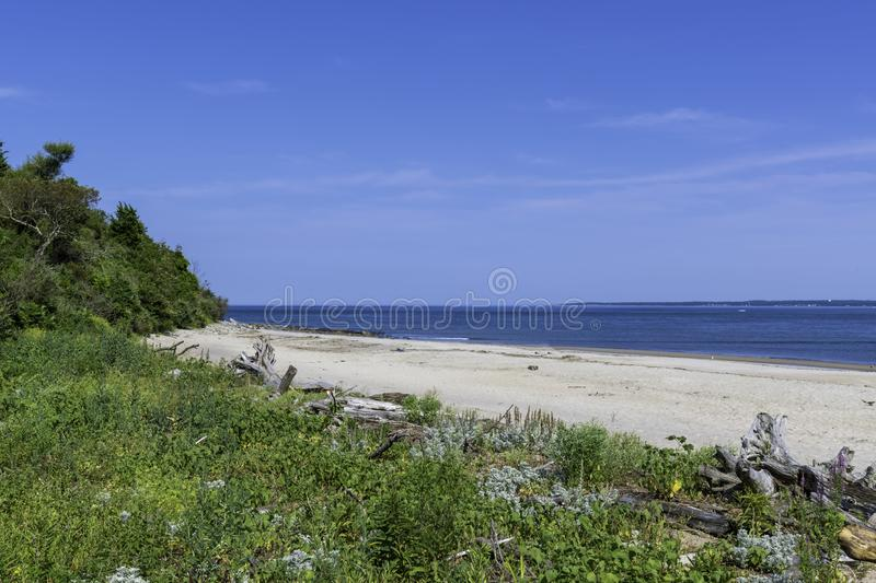 The beach at Sandy Point State Reservation royalty free stock photos