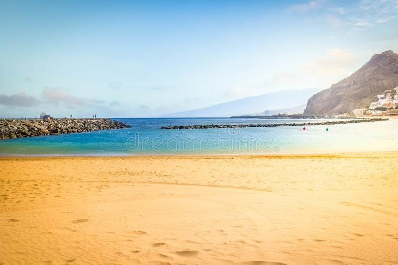 Beach of Santa Cruz de Tenerife, Spain. Coast line of beach las Teresitas by Santa Cruz de Tenerife, Spain, toned royalty free stock images