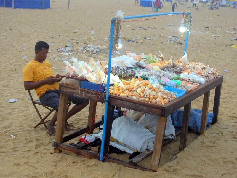 Beach scen Marina strand Chennai Indien arkivfoto