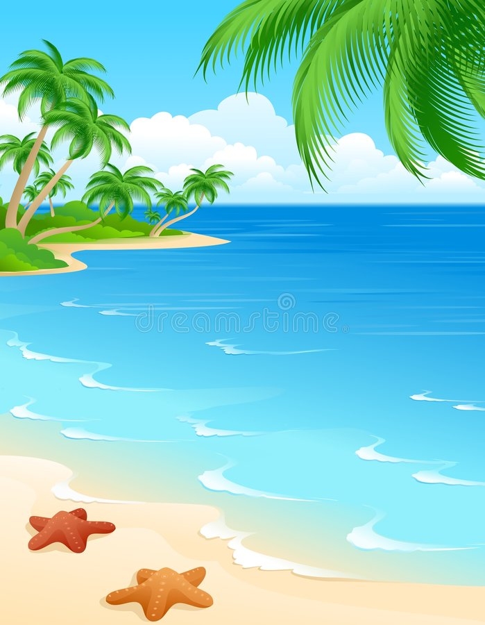 Beach scene royalty free illustration
