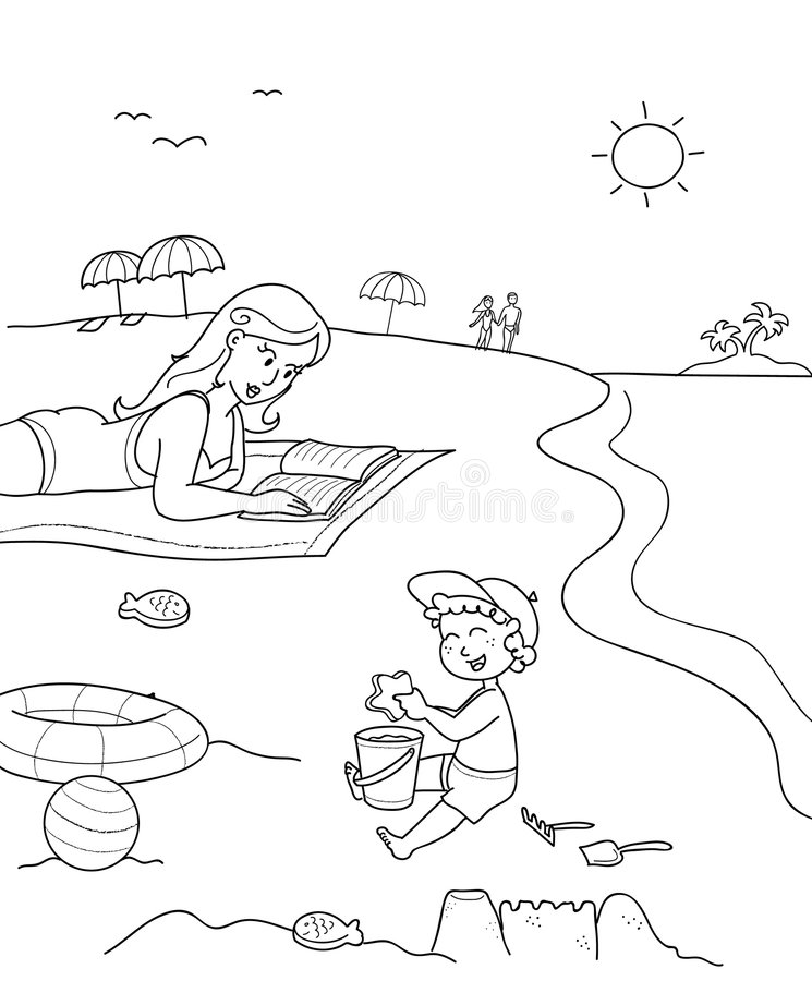 Coloring mother and son at the beach vector illustration