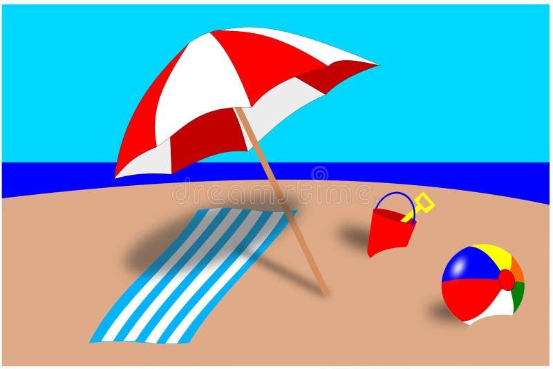beach scene stock vector illustration of water umbrella 9190990 rh dreamstime com beach scene clip art images cartoon beach scene clipart