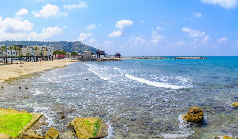 Beach scene in Bat Galim neighborhood, Haifa royalty free stock photography