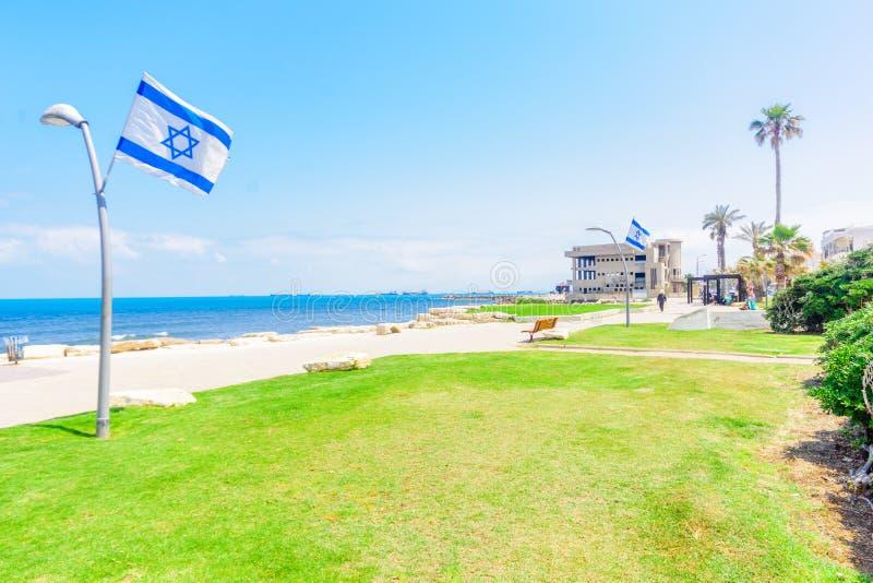 Beach scene in Bat Galim neighborhood, Haifa royalty free stock photo